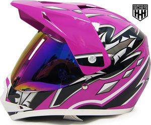HHH DOT Youth & Kids Helmet for Dirtbike ATV Motocross MX Offroad Motorcyle Street bike Snowmobile Helmet with VISOR-Pink-USA