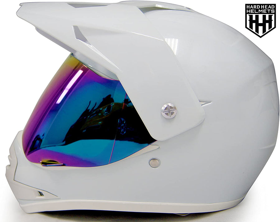HHH DOT Youth & Kids Helmet for Dirtbike ATV Motocross MX Offroad Motorcyle Street bike Snowmobile Helmet with VISOR-WHITE-USA