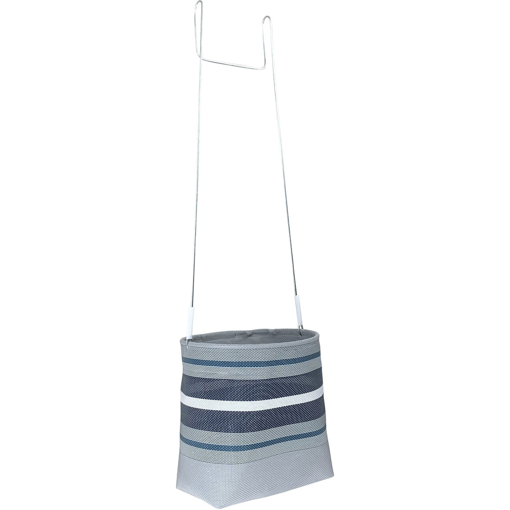Blue and grey stripe peg basket