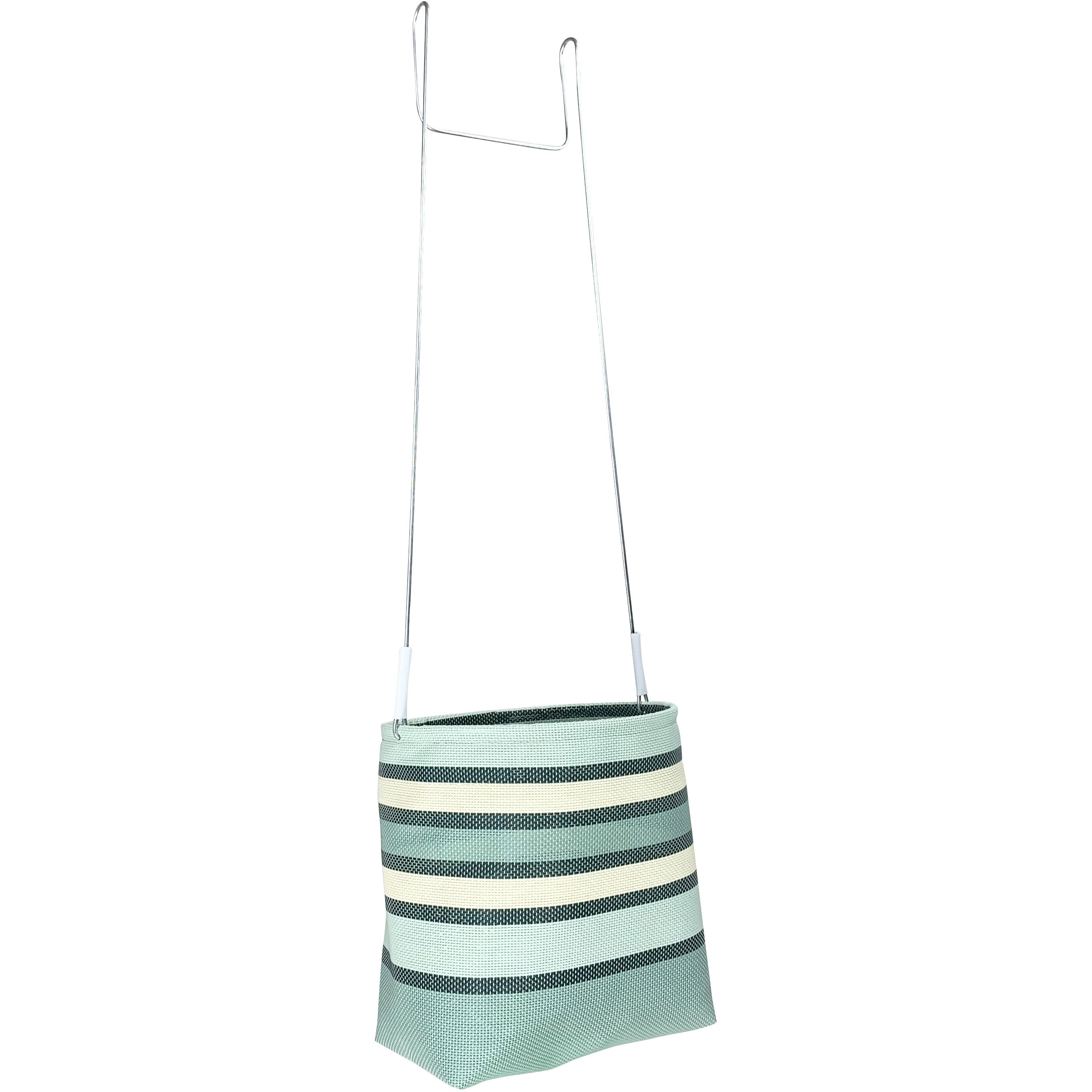 Green and cream stripe peg basket