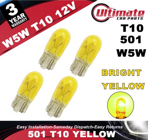 501 W5W T10 Yellow Indicator Wedge PUSH IN HALOGEN Bulbs Sidelights 12V