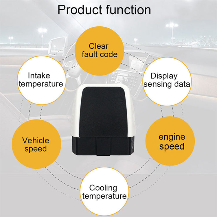 Mini OBD2 Scanner ELM327 Bluetooth 4.0 16-Pin w/ LED Android iOS Windows