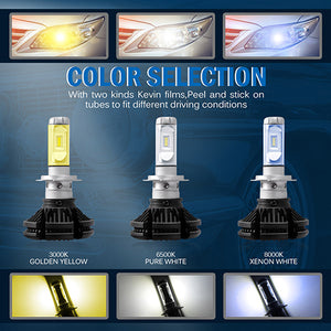 X3 LED Fanless HeadLight Conversion Kit 6000k Easy Fit 6000lm