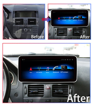 Touch Screen Android 10 And Apple CarPlay Bluetooth Unit GPS Ect For Mercedes C Class 2007-2010