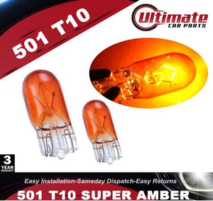 501 W5W T10 Amber Orange Indicator Wedge PUSH IN HALOGEN Bulbs Sidelights 12V