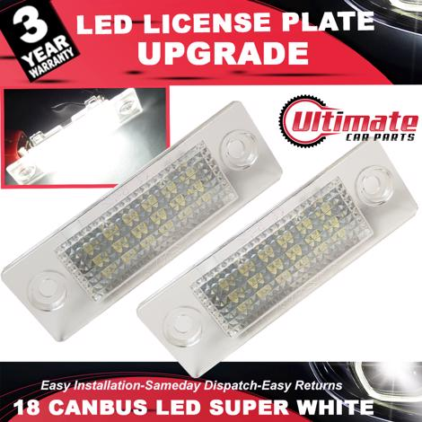 2 x 18 SMD LED Licence Plate LED Holders fits VW Golf, Caddy, Touran,Jetta,Passat, Transporter