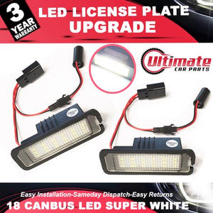 2 x 18 SMD LED Licence Plate LED Holders fits Seat Altea, Leon