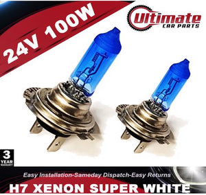 H7 100w 24v Xenon Headlight Bulb Super White 6500k Lamp Light HID Effect Bulbs