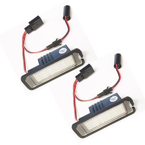2 x 18 SMD LED Licence Plate LED Holders fits VW GOLF Mk 4, 5, 6, Polo, EOS, LUPO