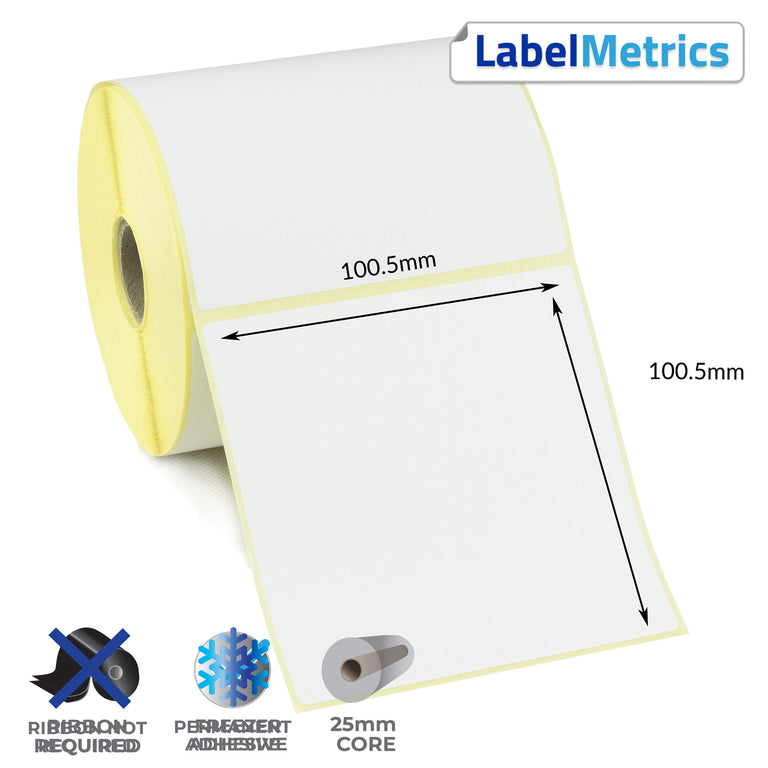 100.5 x 100.5mm Perforated Direct Thermal Labels - Freezer Adhesive