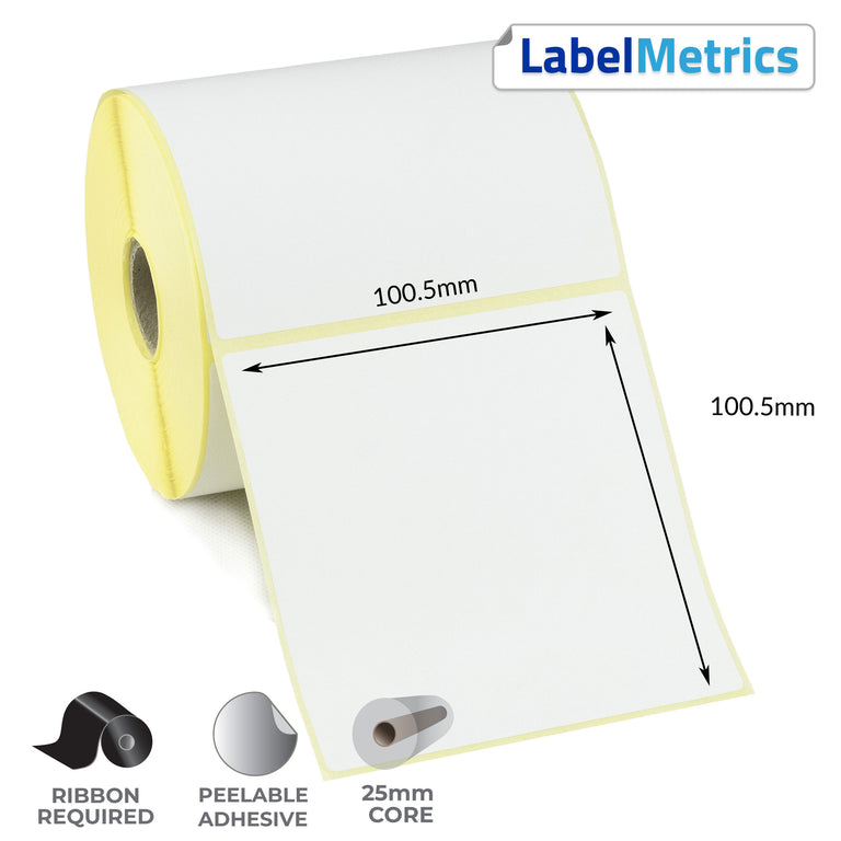 100..5 x 100.5mm Perforated Thermal Transfer Labels - Removable Adhesive