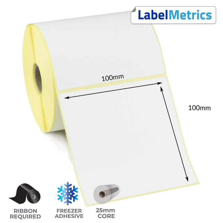 100 x 100mm Perforated Thermal Transfer Labels - Freezer Adhesive