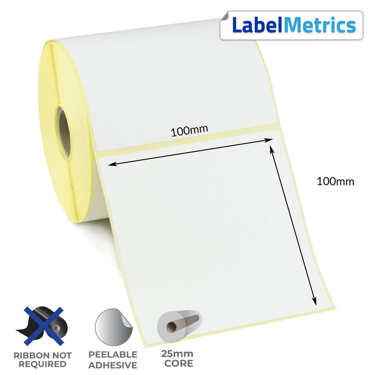 100 x 100mm Direct Thermal Labels - Removable Adhesive