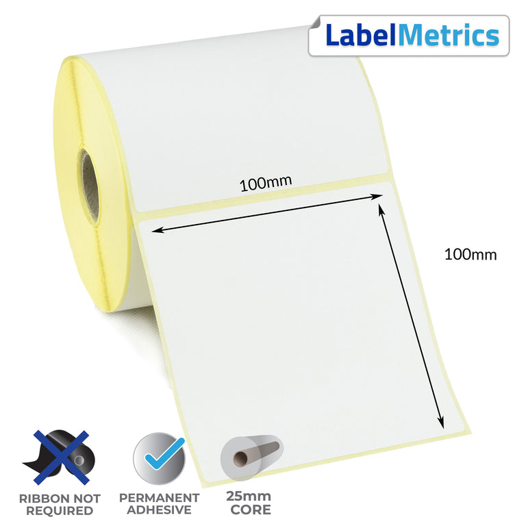 100 x 100mm Direct Thermal Labels - Permanent Adhesive