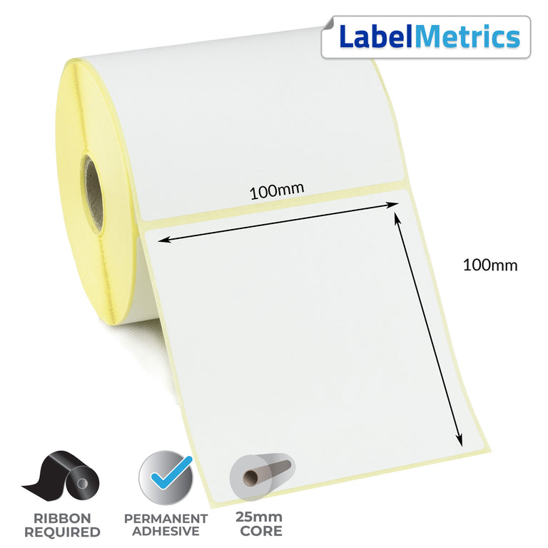 100 x 100mm Thermal Transfer Labels - Permanent Adhesive