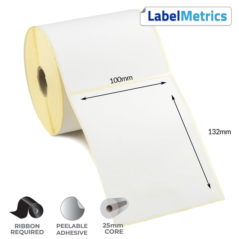 100 x 132mm Thermal Transfer Labels - Removable Adhesive