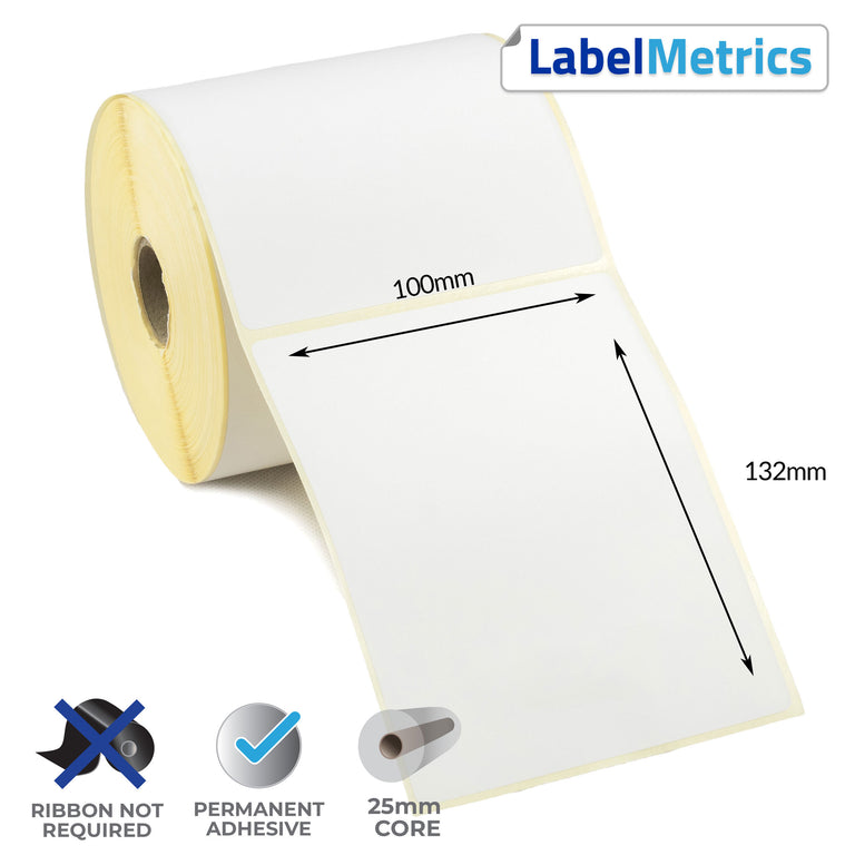 100 x 132mm Direct Thermal Labels - Permanent Adhesive
