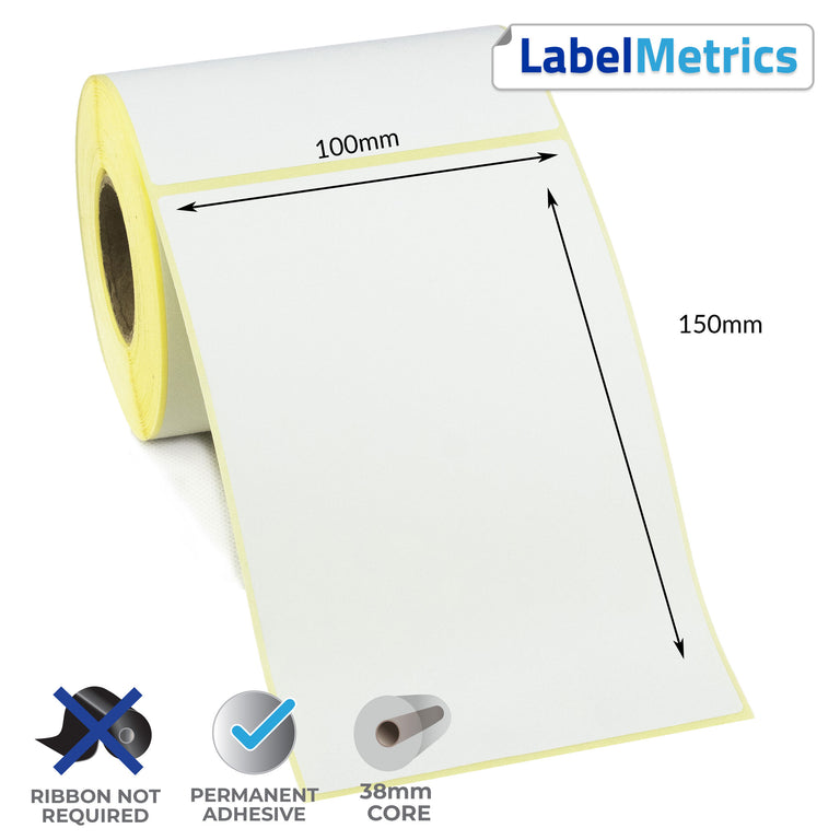 Zebra LP 2844 100x150mm Direct Thermal Labels - Perforated