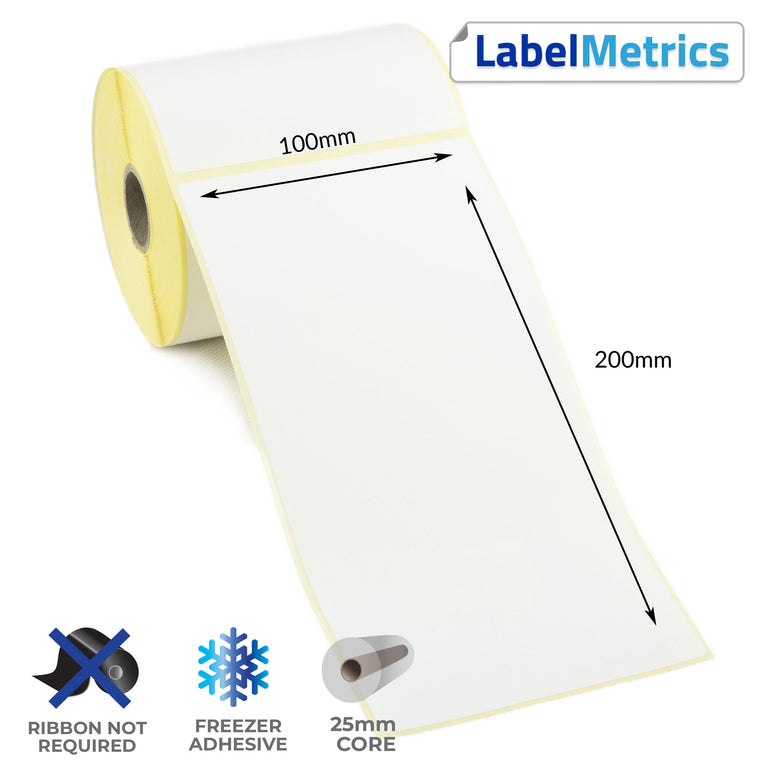 100 x 200mm Direct Thermal Labels - Freezer Adhesive
