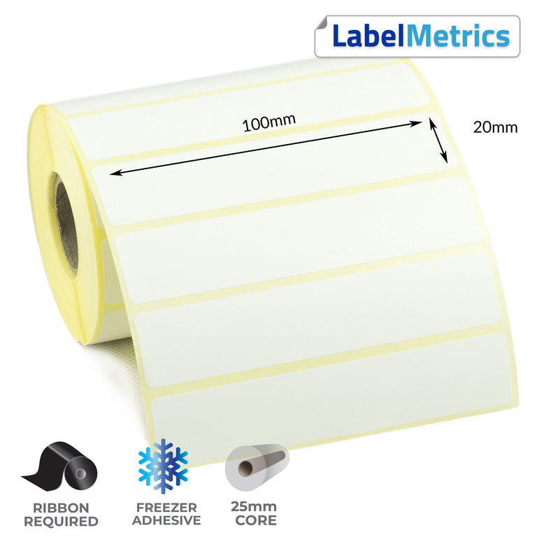 100 x 20mm Thermal Transfer Labels - Freezer Adhesive