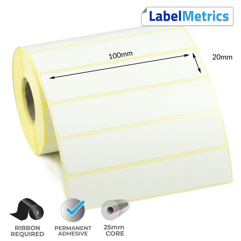 100 x 20mm Thermal Transfer Labels - Permanent Adhesive