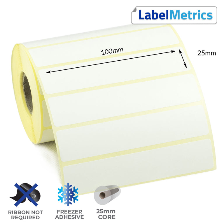 100 x 25mm Direct Thermal Labels - Freezer Adhesive