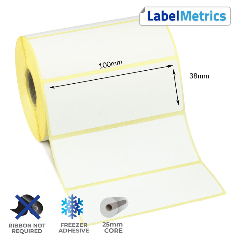100 x 38mm Direct Thermal Labels - Freezer Adhesive