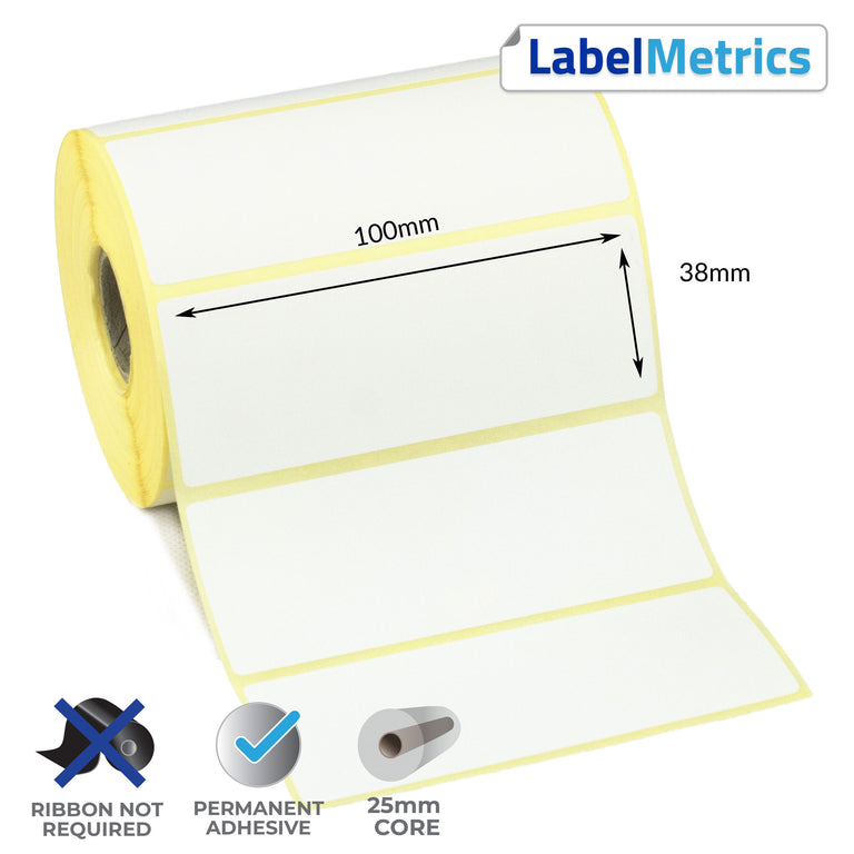 100 x 38mm Direct Thermal Labels - Permanent Adhesive