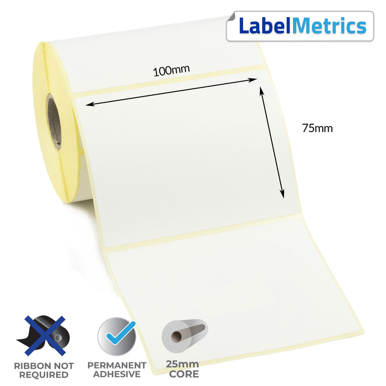 100 x 75mm Direct Thermal Labels - Permanent Adhesive
