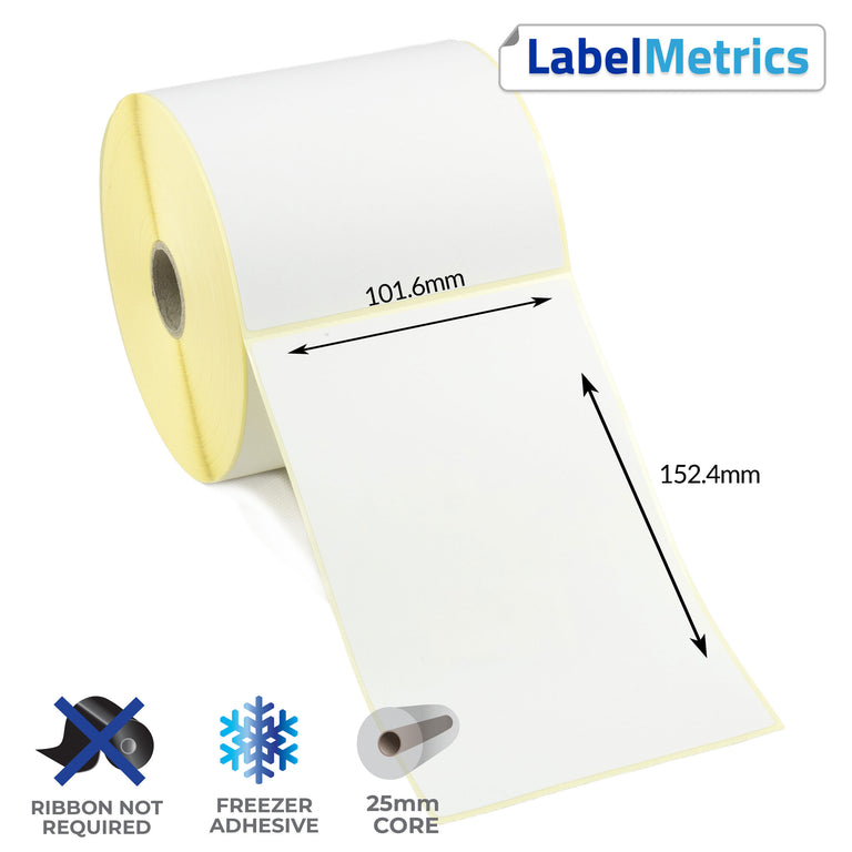 101.6 x 152.4mm Direct Thermal Labels - Freezer Adhesive