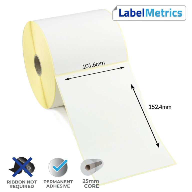 101.6 x 152.4mm Perforated Direct Thermal Labels - Permanent Adhesive