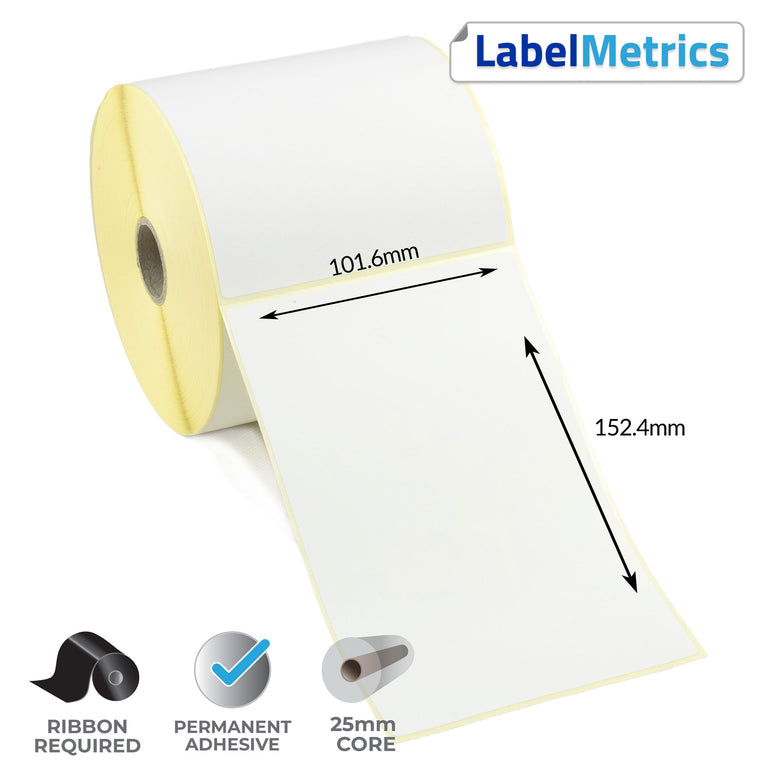 101.6 x 152.4mm Thermal Transfer Labels - Permanent Adhesive