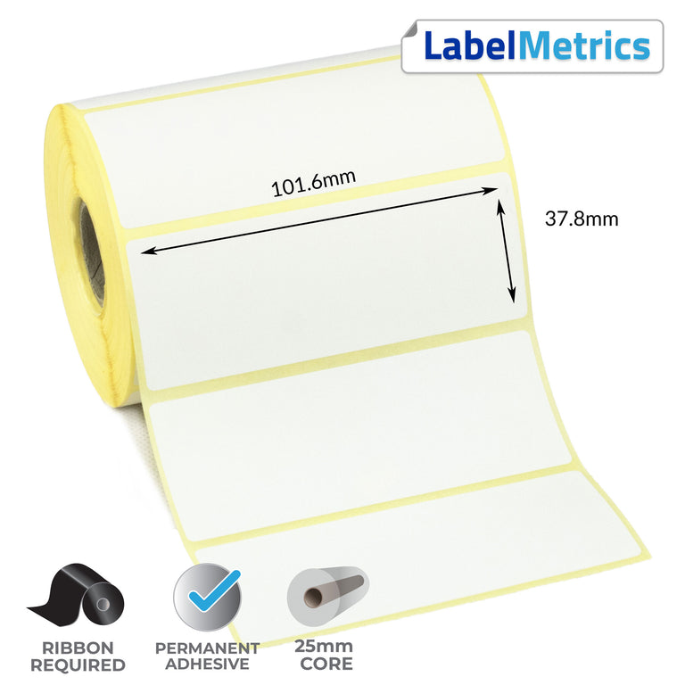 101.6 x 37.8mm Thermal Transfer Labels - Permanent Adhesive