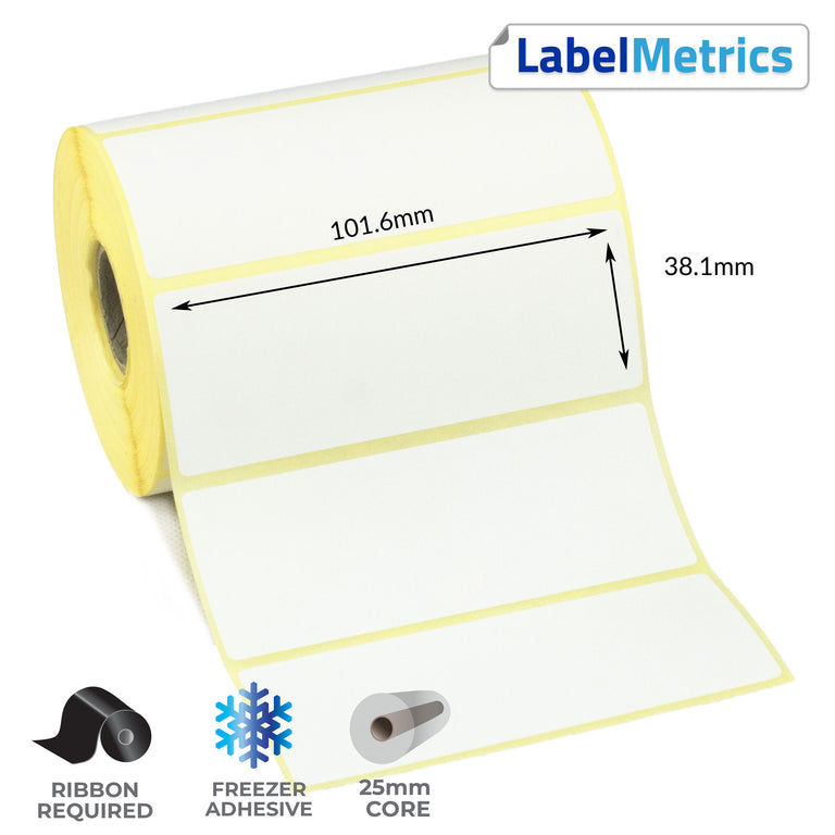 101.6 x 38.1mm Thermal Transfer Labels - Freezer Adhesive