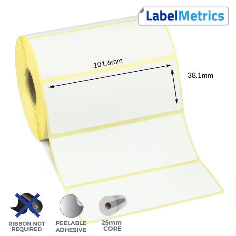 101.6 x 38.1mm Direct Thermal Labels - Removable Adhesive