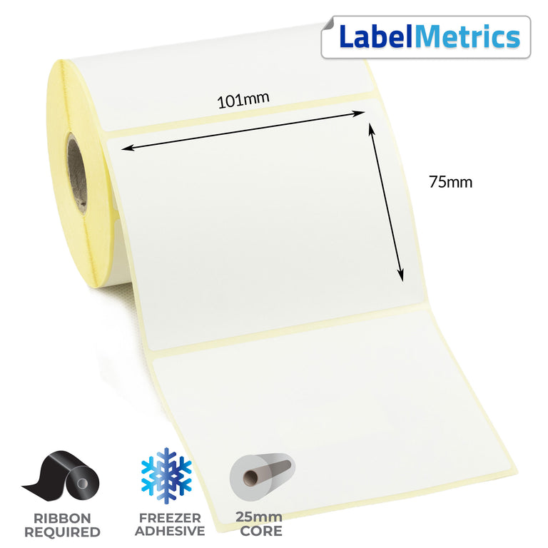 101 x 75mm Thermal Transfer Labels - Freezer Adhesive