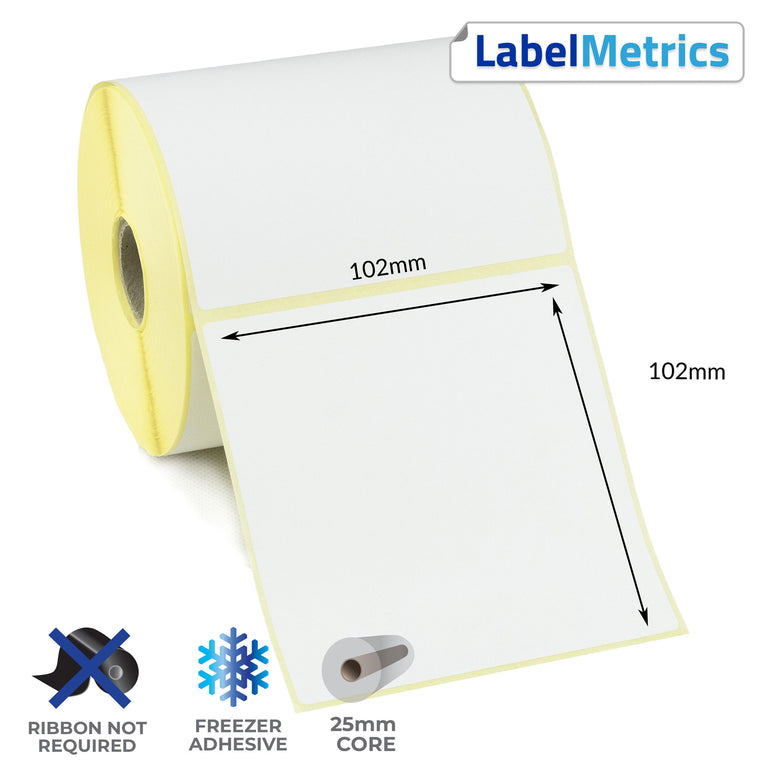 102 x 102mm Direct Thermal Labels - Freezer Adhesive