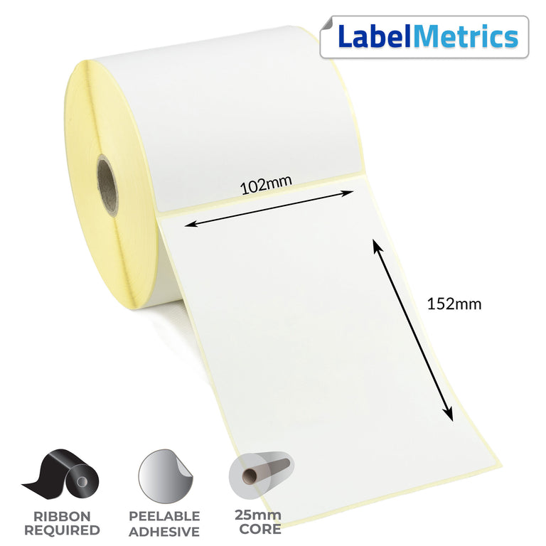 102 x 152mm Perforated Thermal Transfer Labels - Removable Adhesive