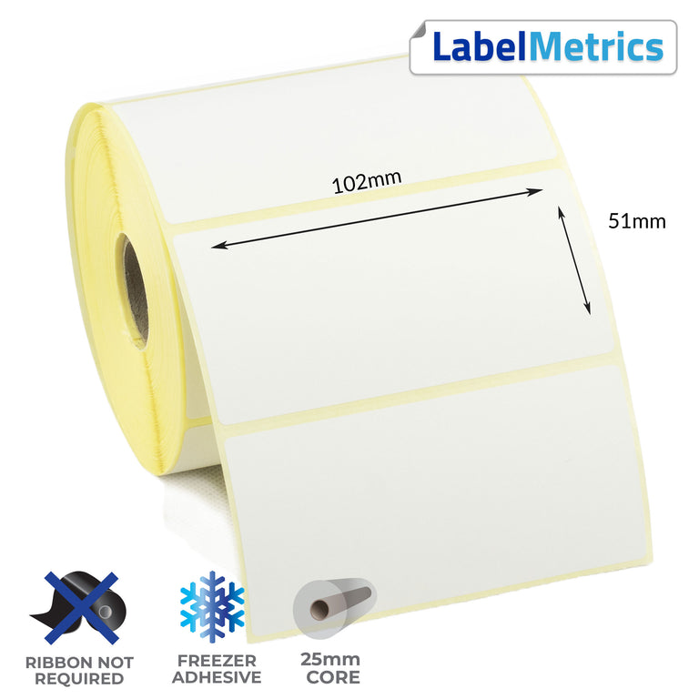 102 x 51mm Direct Thermal Labels - Freezer Adhesive