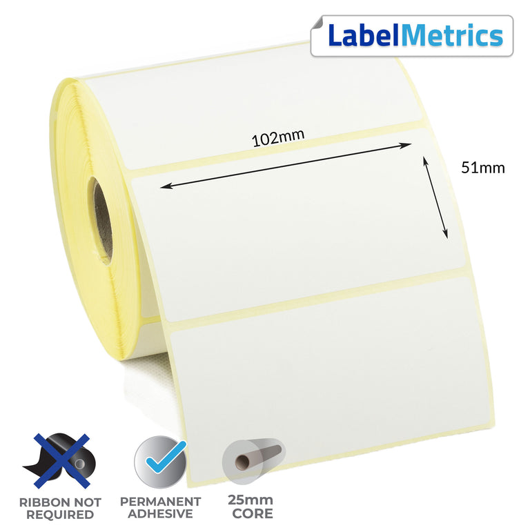 102 x 51mm Direct Thermal Labels - Permanent Adhesive