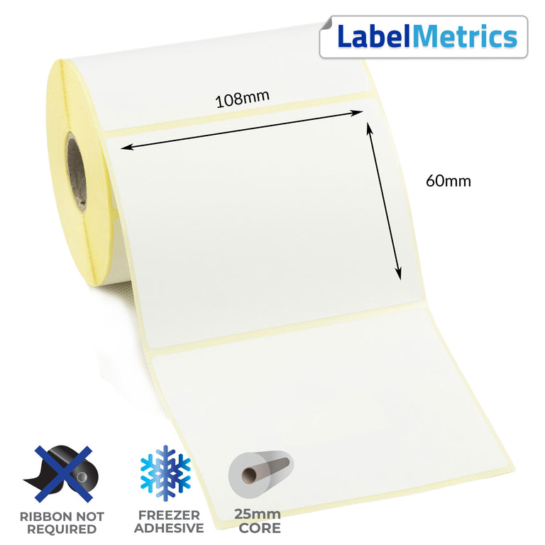 108 x 60mm Direct Thermal Labels - Freezer Adhesive