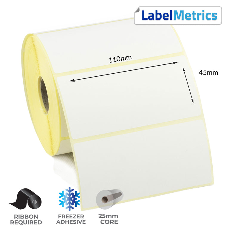 110 x 45mm Thermal Transfer Labels - Freezer Adhesive