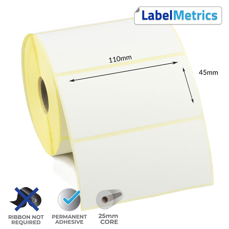 110 x 45mm Direct Thermal Labels - Permanent Adhesive