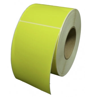 101.6 x 101.6mm Yellow Direct Thermal Labels - Permanent Adhesive