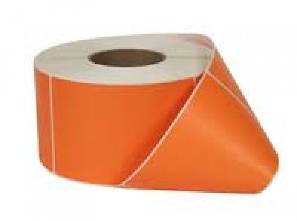 100 x 100mm Orange Thermal Transfer Labels - Permanent Adhesive
