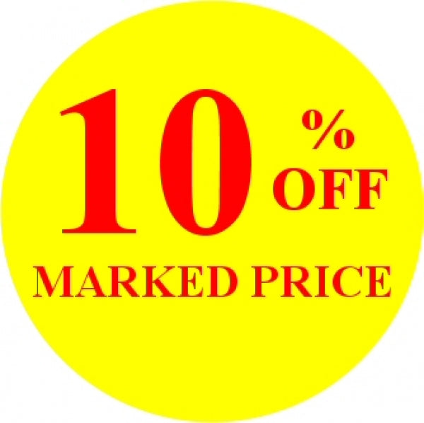 10% OFF MARKED PRICE Promotional Label - Qty: 1000