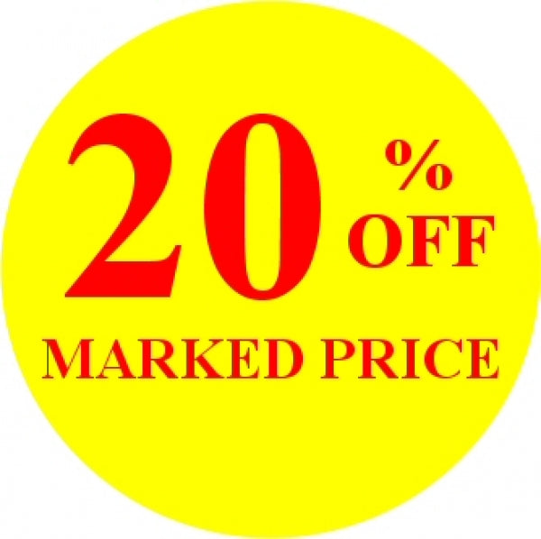 20% OFF MARKED PRICE Promotional Label - Qty: 1000