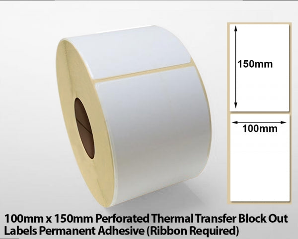 100 x 150mm Perforated Thermal Transfer Block Out Labels - Permanent Adhesive
