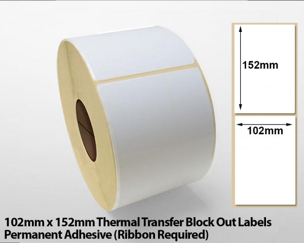 102 x 152mm Thermal Transfer Block Out Labels - Permanent Adhesive