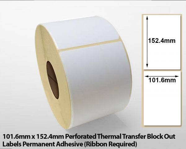 101.6 x 152.4mm Perforated Thermal Transfer Block Out Labels - Permanent Adhesive